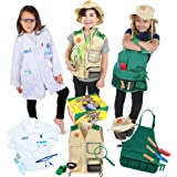 Born Toys Deluxe Premium Washable Dress up Trunk Set.Explorer kit,Garden Set, Scientist Costume,Dr or Vet Costume and Kits fo