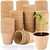 URATOT 120 Pieces Peat Pots Seed Starter Eco-Friendly Enhance Aeration with Plant Tags for Home Plant Starters