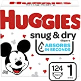 Huggies Snug & Dry Diapers, Size 1, 124 Ct