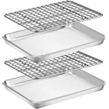 Baking Sheet with Rack Set [2 Pans + 2 Racks], Wildone Stainless Steel Cookie Sheet Baking Pan Tray with Cooling Rack, Size 9