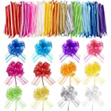 Pull Bow Large Organza Pull Bow Gift Wrapping Pull Bow with Ribbon for Wedding Gift Baskets, 6 Inches Diameter (Mixed Color,