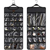 SMRITI Hanging Jewelry Organizer with Dual Zippered Pockets Canvas Double Sided Rotating Hanger Necklace Hanging Wall Organiz