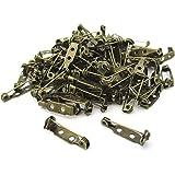 アンティーク 回転式 ブローチピン 100個 セット 20 25 mm 安全 丈夫 ウラピン アクセサリー パーツ 手芸 (20mm)