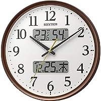 リズム(RHYTHM) 掛け時計 電波 アナログ 連続秒針 温度 湿度 カレンダー 茶 Φ35x5.3cm 8FYA03…