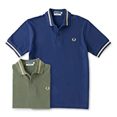 Single Tipped Fred Perry Shirt M2: Olive, French Navy