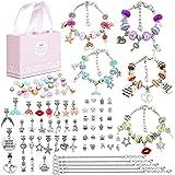 96 Pcs DIY Charm Bracelet Making Kit, Jewelry Making Supplies Bracelet Kit with Snake Chains, Pink Gift Box, Craft Jewelry Be