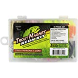 Leland Lures 87659 Trout Magnet Neon Kit- 70 Grub Bodies and 15 Size 8 Hooks.