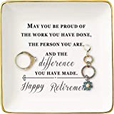 Happy Retirement Gifts for Women – Ceramic Jewelry Holder Ring Dish Trinket Tray – Retirement Appreciation Gift -Gift for Mom