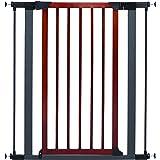Steel Pet Gate w/Textured Graphite Frame & Decorative Wood Door, 39H x 28-38W Inches