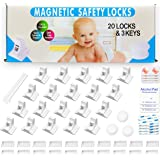 Magnetic Cabinet Locks Child Safety for Drawers and Cabinets - Kitchen Child Proof Cabinet Locks - Baby Proofing Safety (20 P