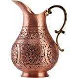 DEMMEX The Pitcher, 1mm Solid Copper Handmade Engraved Copper Pitcher Vessel Ayurveda Jug for Drinking Water, Moscow Mule, Co