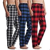 Piero Lusso Men's 100% Cotton Woven Lounge Sleep Pajamas Pants Boxers Plaid Sleepwear