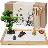 ENSO SENSORY Japanese-Zen-Garden-Desk-Mini-Kit-Sand-Rock-Rake-Tools-Bonsai-Tree-Meditation-Office-Decor
