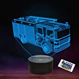 Fire Fighting Truck 3D Night Light Table Stand Lamp with 7 Color Flashing USB LED for Kids Toy Gift