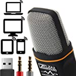 ZaxSound Professional Cardioid Condenser Microphone for PC, Laptop, iPhone, iPad, Android Phones, Tablets, xBox and...