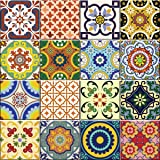 Backsplash Tile Stickers 24 Pc Set Traditional Talavera Tiles Stickers Bathroom & Kitchen Tile Decals Easy To Apply JUSt Peel