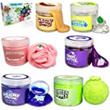 ToysButty Slime Kit for Girls Boys, 6 Different Scented & Premade Slimes in 28 oz Containers with Fruit Accessories, Fluffy,