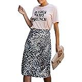 Relipop Women's Skirts Dot Print Elastic High Waist Casual Midi Skirt
