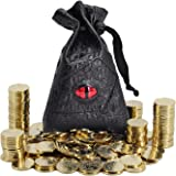 DND Fantasy Coins 50 Antique Gold Metal Treasure Tokens with Leather Pouch - Gaming Loot, Accessories & Props for Dungeons an