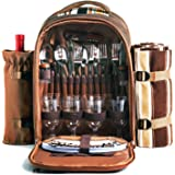 Picnic Backpack Bag for 4 Person with Cooler Compartment, Detachable Bottle/Wine Holder, Fleece Blanket, Plates and Cutlery S