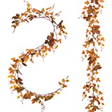 Lvydec 2 Pack Fall Maple Leaf Garland - 6.5ft/Piece Artificial Fall Foliage Garland Thanksgiving Decor for Home Wedding Party