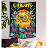 Lifeel Trippy Sublime Sun Tapestry Wall Hanging, Psychedelic Hippie Vertical Colorful Tapestries with Mushroom Cactus for Bed