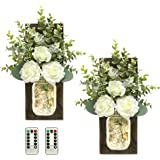TenXVI Designs Remote Controlled Mason Jar Sconces with Roses and Eucalyptus - Set of 2 - Rustic Farmhouse, Boho, Country Wes