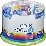 Verbatim バーベイタム 1回記録用 CD-R 700MB 50枚 ホワイトプリンタブル 48倍速 SR80FP5…