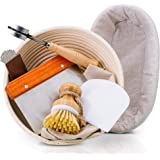 "PRYNEX Bread Proofing Basket Set with Accessories - Natural Rattan, 9"" Round, 10"" Oval Baskets with Liners - Includes Cutting"