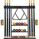 Billiards Xpress Pool Cue Rack - Pool Stick Holder Wall Mount With 16 Ball Holders & 6 Pack Of Chalk - Rubber Circle Pads & L