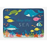 Ambesonne Cartoon Bath Mat, Underwater Graphic with Algaes Coral Reefs Turtles Fishes The Life Aquatic, Plush Bathroom Decor