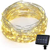 SuTon 72ft 200 LEDs 8 Modes Waterproof Solar String Light with Flexible Silver Wire, High Efficiency Durable Outdoor and Indo