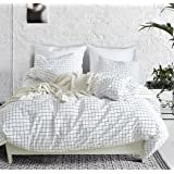Fire Kirin Twin Duvet Cover Set with Zipper Closure 2Pcs (1 Duvet Cover + 1 Pillowcase) Modern Mini Black and White Grid Chec