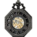 SEWOR Octagon Skeleton Pocket Watch Halloween Style Steampunk Mechanical Hand Wind