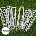 6 Inch Garden Stakes Galvanized Landscape Staples, U-Type Turf Staples for Artificial Grass, Rust Proof Sod Pins Stakes for S
