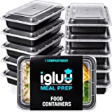 [10 Pack] 1 Compartment BPA Free Reusable Meal Prep Containers - Plastic Food Storage Trays with Airtight Lids - Microwavable