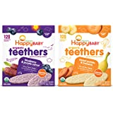 Happy Baby Organics Teether, Variety Pack, Blueberry & Purple Carrot, Sweet Potato & Banana, 12 Count (Pack of 2)