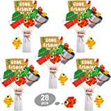 Blulu 28 Pieces Gone Fishing Theme Little Fisherman Party Decoration Fish Centerpiece Sticks Fishing Theme Table Toppers for