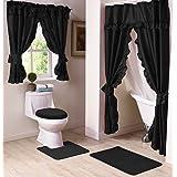 Madison Starlite Deluxe Swag Shower Black Bathroom Window Curtain