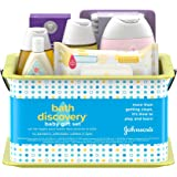 Johnson's Bath Discovery Gift Set for Parents-To-Be, Caddy with Baby Bath Time & Skin Care Essentials, Includes Baby Wash, Sh