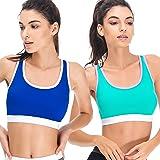 Curve Muse Women Plus Size Sports Bras-Medium Impact Gym Activewear-1 2 Pack