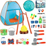 Tobeape Kids Camping Toy Set with Play Tent, Children's Indoor & Outdoor Toy Camping Tool Set, Pretend Play Set for Ages 3+ B
