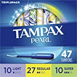 Tampax Pearl Plastic Tampons, Triplepack, Light/Regular/Super Absorbency, Unscented, 50 Count,Packaging May Vary