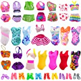 ZITA ELEMENT 5 Sets Swimsuits Bikini Swimwear and 5 Pairs of Slippers Shoes for 11.5 Inch Girl Doll Summer Beach Swim Wear Cl