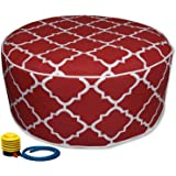 Inflatable Stool Ottoman Used for Indoor or Outdoor, Kids or Adults, Camping or Home (RED)