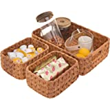 GRANNY SAYS Hand-Woven Storage Baskets, Imitation Wicker Baskets with Handles, Decorative Basket Set, Walnut, Set of 3 (one L