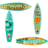 Bundle: Home Decor Metal Surfboard Beach Signs - Welcome to Paradise Sign, Endless Summer Sign, Tropical Bar Sign and Flip Fl