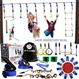 Gentle Booms Sports Ninja Warrior Line Hanging Obstacle Course for Kids Activities- 56ft Slackline Kit, Monkey Bar, Ninjaline