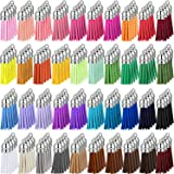 200 Pieces Keychain Tassels Leather Keychain Tassel Pendants Bulk Faux Suede Tassel with Caps for DIY Acrylic Keychain Blanks