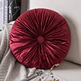 Phantoscope Round Throw Pillow Handcrafted Pumpkin Velvet Floor Pillows Couch Bed and Chair, Red 16 x 16 inches 40 x 40 cm
